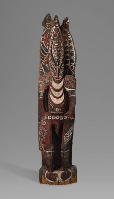 House Post Figure, 19th century  Kambot (Tin Dama) people, Keram River, Lower Sepik region, Papua New Guinea  Wood, paint, fiber  H. 96 in. (243.8 cm)