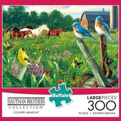 Buffalo Games 300 Large Piece Puzzle, Country Meadow