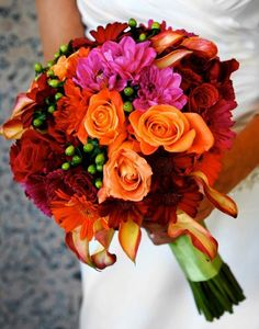 #bridal bouquet in mango pink and greens www.afairytalewedding.com