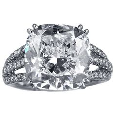 8.03 Carat Cushion Cut Diamond Ring | From a unique collection of vintage engagement rings at http://www.1stdibs.com/jewelry/rings/engagement-rings/