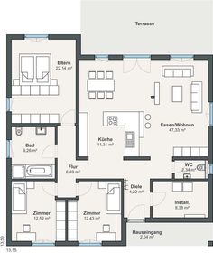 WeberHaus – Baureihe myLife – Home living color wall treatment kitchen design Layouts Casa, House Layouts, Bungalow House Design, Modern House Design, Modern House Plans, House Floor Plans, Bungalows, Architecture Plan, Model Homes