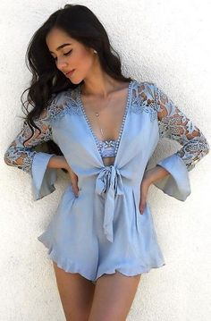 #summer #feminine #style |  Powder Blue Romper