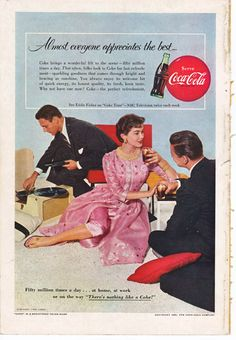 1950's vintage ad for Coca Cola, this is a good source for vintage illustrations, ads, and paper ephemera.