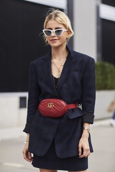 The Best Street Style from New York Fashion Week Street Style Spring 2018 // Gucci Fanny Pack // Never Without Navy Blog