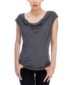 Another great find on #zulily! Charcoal Cap-Sleeve Drape Top by Saint Paradise #zulilyfinds