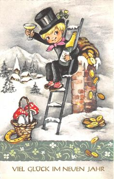 coin mushroom champagne clover horseshoe new year neujahr chimney sweep . - coin mushroom champagne clover horseshoe new year neujahr chimney sweep . New Years Traditions, Holiday Traditions, Vintage Christmas Cards, Vintage Cards, Hello January, Champagne, Chimney Sweep, Christmas Illustration, Christmas Elf