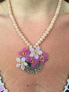 Needle Lace Flower Necklace Czech Glass Beads Necklace