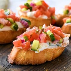 Greek Bruschetta with Feta – This appetizer recipe is loaded with flavor. Toasted bread – crostini- coated in a creamy feta spread and topped with tomato, cucumber, and red onion seasoned with Greek Vinaigrette. Best Appetizer Recipes, Best Appetizers, Appetizer Ideas, Greek Appetizers, Dinner Recipes, Appetizers On Skewers, Party Snacks For Adults Appetizers, Nibbles Ideas, Canapes Ideas