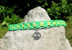 Green Peace Choker  Hemp Macrame Choker  Macrame Jewelry