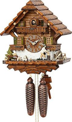 Cuckoo Clock Black Forest house with moving wood chopper -- Want additional info? Click on the image.