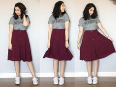 Look do dia lady like com burgundy roupas skirt fashion dres Casual Skirt Outfits, Modest Outfits, Casual Dresses For Women, Cute Outfits, Dress Casual, Work Fashion, Modest Fashion, Skirt Fashion, Fashion Outfits