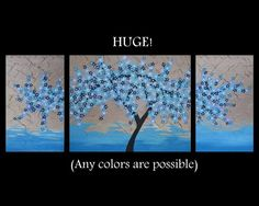 large blue 3 canvas cherry blossom painting turquoise by SheerJoy, $350.00