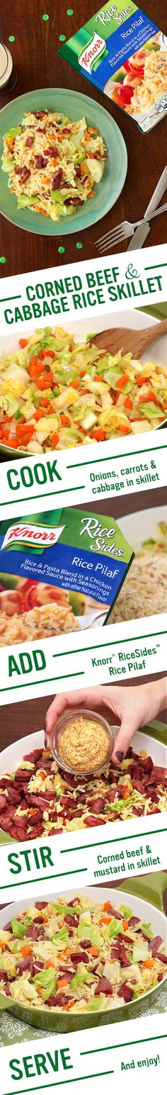 Howya! Celebrate the luck of the Irish with Knorr's Corned Beef & Cabbage Rice Skillet. The flavorful recipe includes hearty meat, tender vegetables, & savory grains. Follow these easy steps for a St. Patrick's Day family supper: 1. Cook onion, carrot, & cabbage 2. Add Knorr® Rice Sides™ - Rice Pilaf 3. Stir in corned beef & mustard. Serve & enjoy!