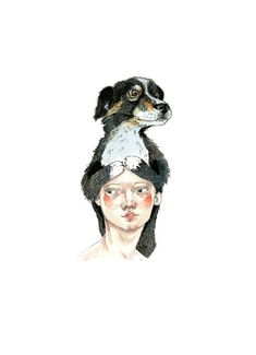 Dog Print 8x11 illustration girl and dog by ChasingtheCrayon, £13.00