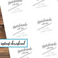 2be6f7fc Items similar to printable stickers, Handmade with love by your favorite  hooker, crochet gift stickers, avery round labels, black and white, gray,  ...