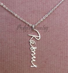 Personalized Signature Necklace - Signature Jewelry - Unique Gift - Personalized Gift - Your Actual Writing - Vertical Pendant