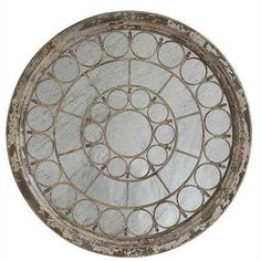 Round PIne Wood and Metal Mirror