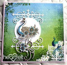Heartfelt Creations | Gold And Blue Peacock Swirl