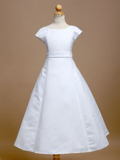 Elegant A-Line  Satin Dress.  Great for 8 year old Baptism!