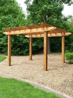 Pergola - we could do this out back in the rock garden and then add a fire pit. Pergola - we could d Gravel Patio, Deck With Pergola, Cheap Pergola, Outdoor Pergola, Wooden Pergola, Backyard Pergola, Pergola Shade, Pergola Kits, Backyard Landscaping