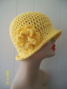 HANDMADE CROCHET 100% COTTON  CLOCHE BEANIE FLAPPER HAT BRIGHT YELLOW W/ FLOWER #Handmade #Cloche