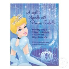 Pretty Cinderella birthday party invitation #cards #disney