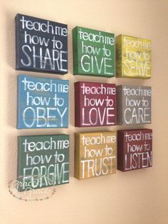 "SET of 9 -""Teach Me"" 6x6x1.5""Canvas Blocks -  Inspirational Art - Wall Art, Nursery, Child's Room, Home Decor, Teacher Gift. $135.00, via Etsy."