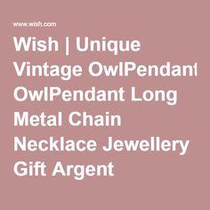 Wish   Unique Vintage OwlPendant Long Metal Chain Necklace Jewellery Gift Argent