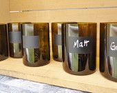 Chalkboard Wine Bottle Glasses in Olive 12 oz  Set of 6