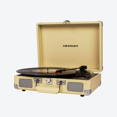 Crosley Cruiser Deluxe Record Player - Fawn by Crosley Radio - Fy Home Library Decor, Belt Drive, Built In Speakers, Record Player, Ac Power, Turntable, Music Instruments, Musical Instruments