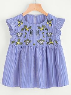 Shop Flower Embroidered Buttoned Keyhole Ruffle Babydoll Top online. SheIn offers Flower Embroidered Buttoned Keyhole Ruffle Babydoll Top & more to fit your fashionable needs.