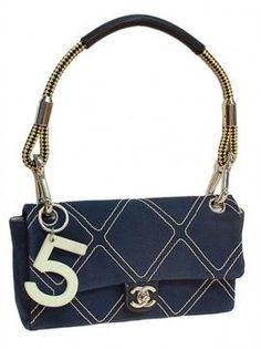 excellent (EX) Chanel Stitched Denim Canvas Cruise No 5 Charm  Flap Shoulder Bag on shopstyle.com