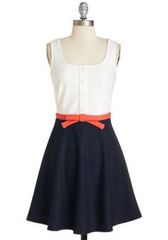 Just a Matter of Maritime Dress - Multi, Bows, Buttons, Casual, Colorblocking, Sleeveless, Knit, Short, Blue, White, Fit & Flare