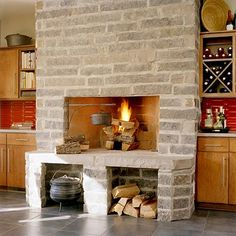 From custom floor-to-ceiling designs to prefabricated limestone hearths, find a stone fireplace to fit your exact style and space. Stone Fireplace Designs, Wood Fireplace, Fireplace Seating, Fireplace Ideas, Ceiling Design, Hearth, Home And Living, Sweet Home, Porch