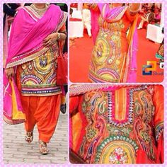 Heavy embroidery punjabi suit ❤️ love the colors
