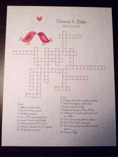 New Wedding Crossword Puzzle - Love Birds - Perfect For Weddings, Rehearsal…