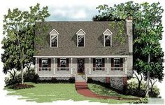 This inviting and delightful one and one-half story is a true classic. This home plan was created to offer spacious living within an attractive, compact and affordable design. It includes a basement foundation with a 2-car drive-under garage. The beveled glass front door accents the lovely full-width front porch.