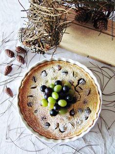 Tarte de queijo com uvas