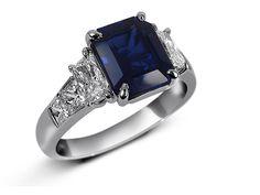 JB Star Platinum ring with 2.48ct Emerald Cut #Sapphire and 2 half moon #diamonds, .80ct tw. #weddings