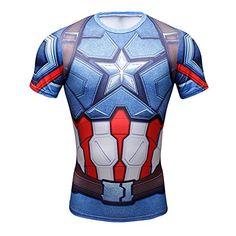 19ba96e9f 3D Avengers Superhero T Shirt Captain America Costume Sports Gym Cycling  Jersey L