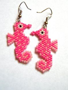 Adorable Pink Sea Horse Delica Seed Beaded Dangle Earrings Made to Order.    via Etsy.