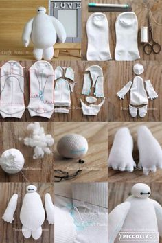 DIY Baymax - Best Picture For Stuffed Animals wallpaper For Your Taste You are looking for something, and it is going to tell you exactly what you are looking for, and you di Sock Crafts, Cute Crafts, Felt Crafts, Fabric Crafts, 3d Paper Crafts, Sewing Toys, Sewing Crafts, Sewing Projects, Diy Crafts Hacks