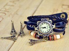 Relógio com pingente de paris e bracelete - - Produto 456569 | AIRU