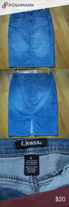 """D.Jeans Denim Pencil Skirt This fabulous denim pencil skirt was worn only once.  Measures approx. 15.25 across the waist and approx. 22.5 in length.  Rear slit measures approx. 6.75"""".  Pulled/loose threads on inner seam of slit. D.Jeans Skirts Pencil"""