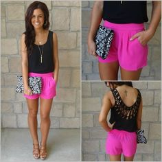 blouse low cut back back black pink hot pink shorts black shirt purse summer fashion hot pretty summer2014 tan warm weather tattoo pink and black brown hari bag