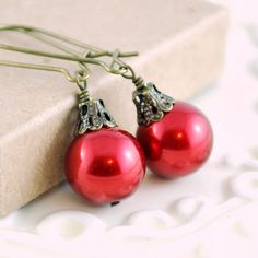 Deep Red Christmas Earrings Antiqued Brass Kidney by LivEveryDay, $10.00