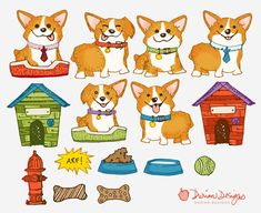 Corgi clipart commercial use, cute puppy clip art, dog house, water bowl, bone, fire hydrant, hand drawn illustration, instant download  With this download, separate/individual image files are in PNG (transparent) format and JPG (white background) format. The dog house is about 7.5x7.5 inches. The main previews (with all images compiled) is for demonstration purposes only. Note: You are purchasing digital files only. Nothing will be mailed to you. The downloadable zip file contains:  15 ...