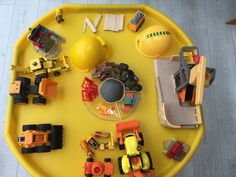 Builders tuff tray Eyfs Builders play dough Coffee grounds / no cook playdough / black food colouring Construction Construction Area Eyfs, Black Food Coloring, Colouring, Tuff Tray Ideas Toddlers, Yard Games For Kids, Community Jobs, Cooked Playdough, Outdoor Learning Spaces, People Who Help Us