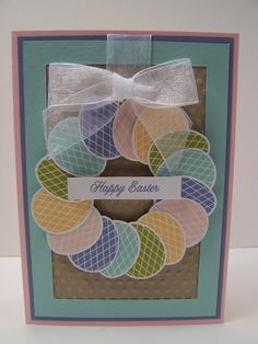 Stampin Up Handmade Greeting Card: Easter Card, Happy Easter, Easter Eggs, Wreath, Spring