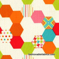 Fabric... Hexies in Mutli by Michael Miller Fabrics